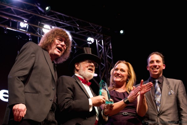 OMHOF founders and board members Terry Currier and Janeen Rundle flank new inductee Dr. Demento with host Tony Starlight (right) at the 2014 ceremony