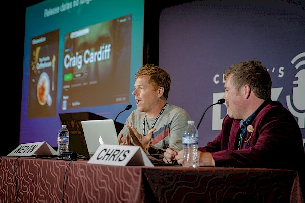 Kevin Breuner and Chris Robley recording live at CD Baby's DIY Musician Conference: Photo by Josh Coyle