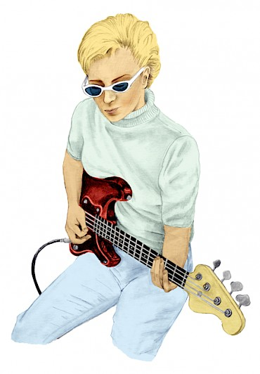 """Not a household name, but she's been in your head all day,"" Portland's Laura Veirs sings on her tribute ""Carol Kaye,"" which honors the influential bassist from Everett, Wash.: Illustration by Rachel Frankel"