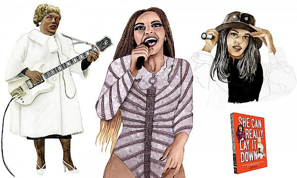 From left to right: Sister Rosetta Tharpe, Beyoncé and M.I.A.: Illustrations by Rachel Frankel