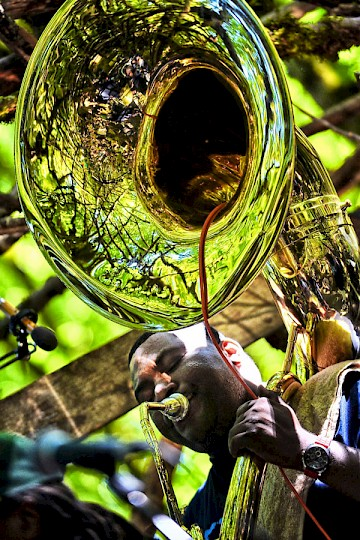 Hot 8 Brass Band on The Woods stage