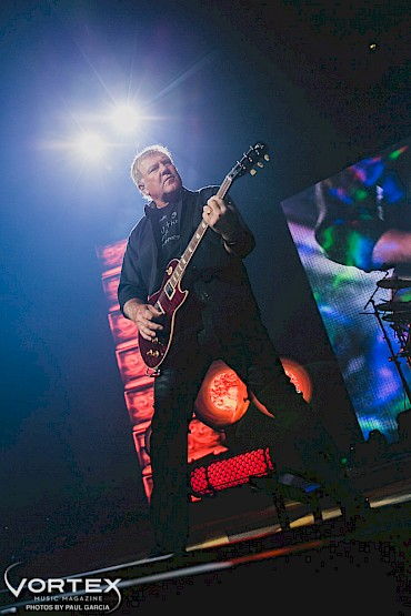 Alex Lifeson with Rush at the Moda Center in 2015—click to see more photos by Paul Garcia