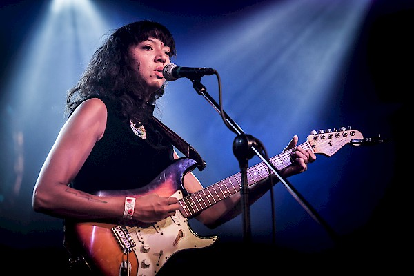 Lips pursed and eyes focused: La Luz's Shana Cleveland at the Wonder Ballroom on Saturday, August 8—click to see a whole gallery of photos by Sam Gehrke