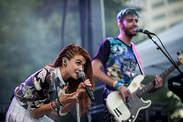 MisterWives all catted up for day one of MusicfestNW on August 21, 2015—click to see a whole gallery of photos by Sam Gehkre
