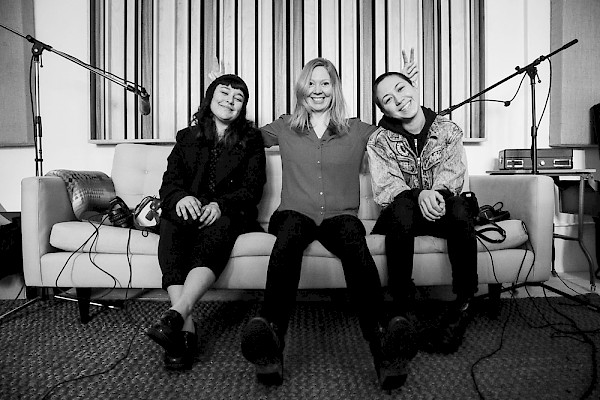 Recording The Future of What at Beta Petrol: Claire Gunville, Portia Sabin and Maya Stoner: Photo by Will Watts