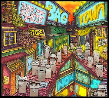 'BagTown' album art by the couple's son Malcolm Smith