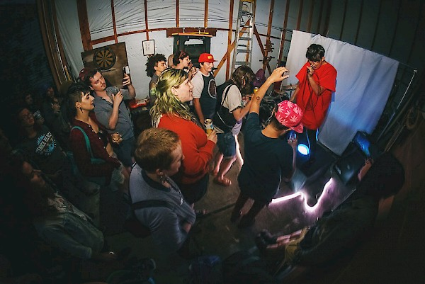 HURTR at a pop-up house show on June 29—click to see more photos by Autumn Andel