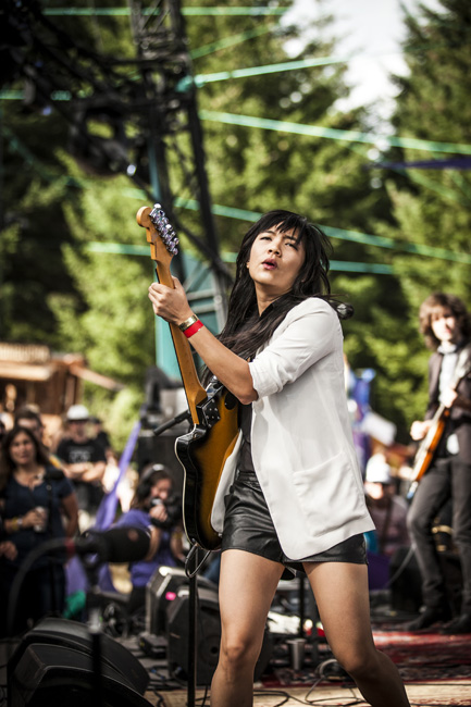 Thao Nguyen of Thao & The Get Down Stay Down at Pickathon on August 7, 2016—click to see more photos by Sam Gehrke