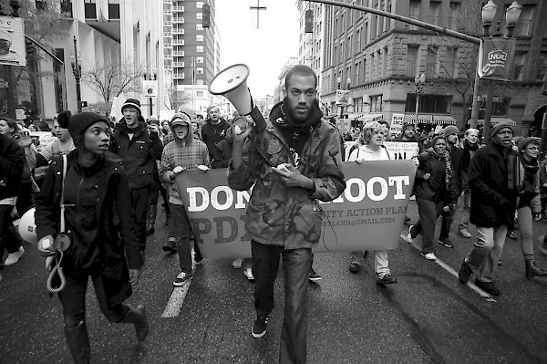 Waco the activist marching with Don't Shoot PDX: Photo by Stephen Yates