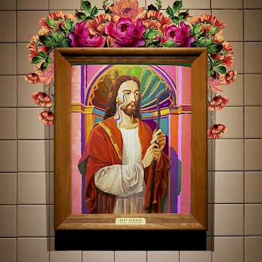The original paint-by-numbers Jesus photographed by Ben Herndon, collaged and colored by Enlightenment Barbie, and plaqued by James Engerbretson