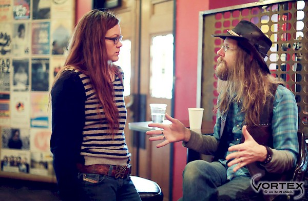 "Zia McCabe of The Dandy Warhols and Portland's ""go to guy"" Lewi Longmire catch up: Photo by Autumn Andel"