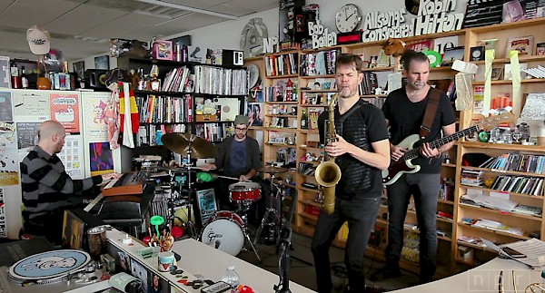 McCaslin (with Lindner, Lefebvre and Guiliana) performs on NPR's Tiny Desk Concert in Jan. 2017, a year after Blackstar's release.