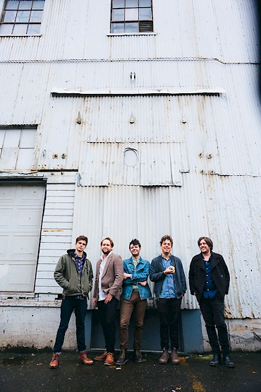 Left to right: Brad Norton (keys), Kyle Moderhak (drums), Matt Moore (bass), Michael Finn and Leo London