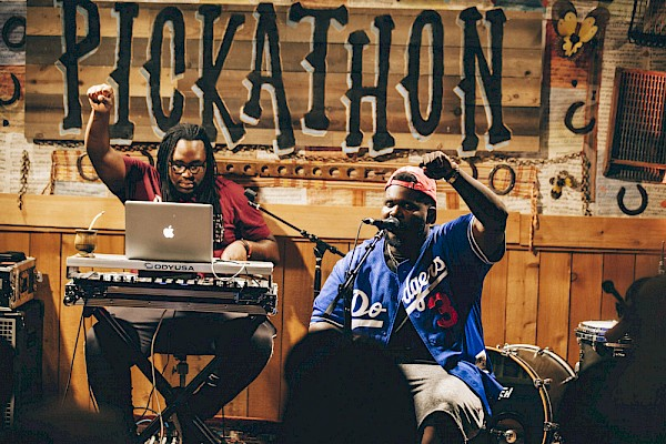Drae Slapz and Mic Capes in the Lucky Barn on August 4—click to see more photos by Sam Gehrke from Pickathon 2017