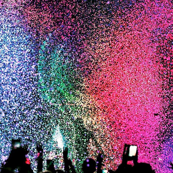 Confetti and Xylobands have become hallmarks of Coldplay shows, as seen in this photo from their show in Edmonton, Alberta, earlier in their current tour