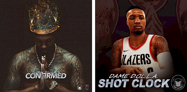 "Left: ""I wanted the cover to pay homage to some of my favorite artists,"" Lillard explains on Instagram. ""Crown: Biggie; Prayer hands: Pac; Gold rope and Rolex: Nas; Highlighting my chest tattoo: for the art culture and community in Oakland."" Right: ""Shot Clock"" was originally produced as a hidden track on NBA 2K18, but due to its popularity, it's now streaming everywhere—including below."