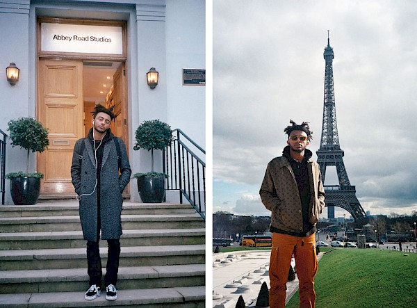 Aminé on the front steps of Abbey Road Studios in London, February 2017 (left); Paris, France, February 2017 (right)