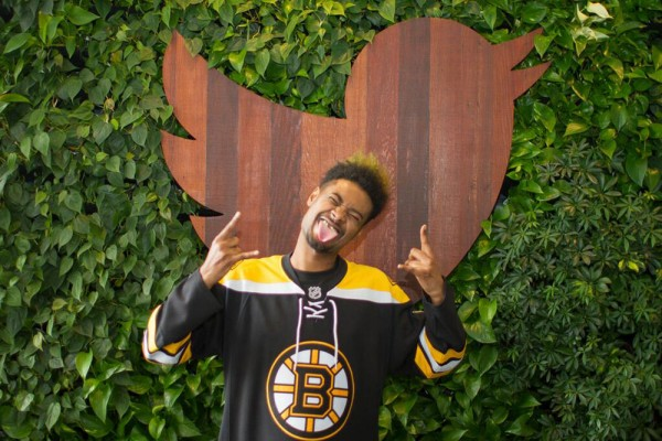 Danny Brown sporting his new do at Twitter HQ.