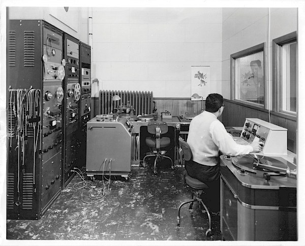 "The control room of SW Portland's Northwestern Incorporated, Motion Pictures and Recording, where The Kingsmen's legendary ""Louie Louie"" was recorded: Photo courtesy of the Robert M. Lindahl Family"