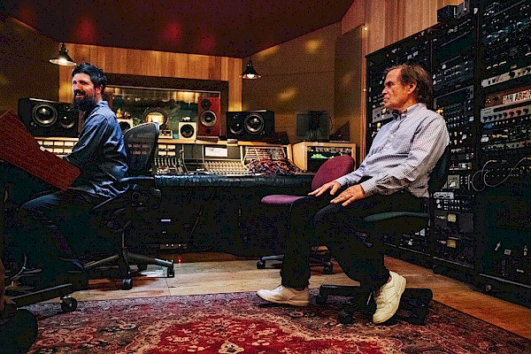 Tucker Martine and his father Layng Martine Jr. at Flora Recording & Playback in 2015