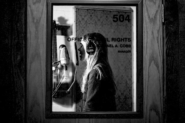 Johanna Söderberg of First Aid Kit recording vocals for 'Ruins' in early 2017