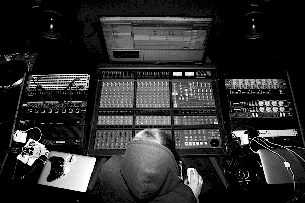EYRST producer Neill Von Tally behind the board at A/D Agency Recording Suite: Photo by Connor Meyer