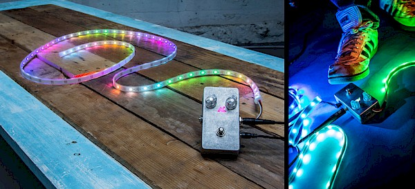 The unassuming Audiolux One stomp box has the power translate your instrument's audio into light: Right photo by Sam Gehrke