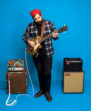 Benson's style is instantly classic and that includes the custom-designed, protective canvas amp covers (above) handmade by Cully Craft, which is run by local seamstress and songwriter Kelli Schaefer: Photo by Sam Gehrke